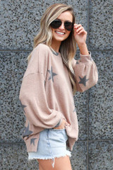 Star Brushed Knit Oversized Pullover Side View
