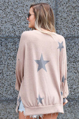 Star Brushed Knit Oversized Pullover Back View