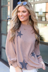 Mocha - Star Brushed Knit Top from Dress Up