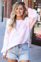 Peach - Brushed Knit Oversized Tie-Dye Pullover