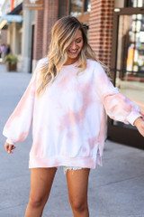 Dress Up model wearing the Brushed Knit Oversized Tie-Dye Pullover