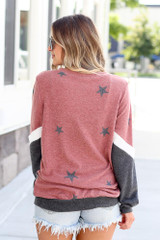 Star Color Block Pullover in Red Back View