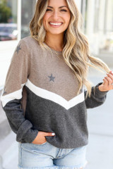 Taupe - Star Color Block Pullover from Dress Up