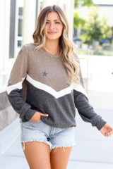 Taupe - Star Color Block Pullover