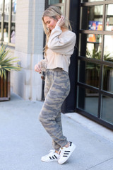 Model wearing the Brushed Knit Camo Joggers Side View