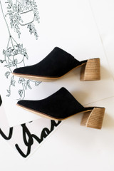 Block Heeled Mules in Black Side View