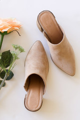 Taupe - Block Heeled Mules from Dress Up Boutique