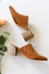 Block Heeled Mules in Camel Side View Flat Lay