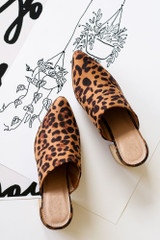 Leopard - Block Heeled Mules Top View
