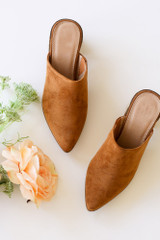 Flat Lay of the Block Heeled Mules in Camel
