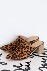 Flat Lay of the Block Heeled Mules in Leopard
