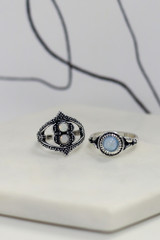 Flat Lay of 2 of the rings in the Boho Ring Set