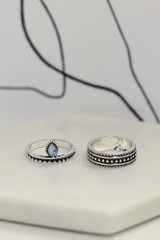 Close Up of 2 of the rings in the Boho Ring Set