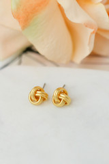 Gold - Knotted Stud Earrings