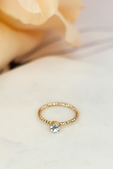 Close Up of the rhinestone ring in the Dainty Ring Set