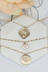 Flat Lay of the Layered Coin Necklace