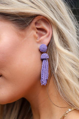 Purple - Beaded Tassel Earrings