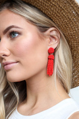 Red - Model wearing the Beaded Tassel Earrings