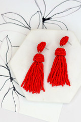 Red - Flat Lay of the Beaded Tassel Earrings