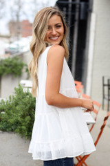 Model wearing the Tiered Swiss Dot Tank Top in White Side View