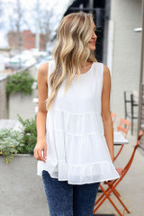 Tiered Swiss Dot Tank Top from online dress boutique