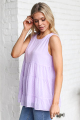 Model wearing the Tiered Swiss Dot Tank Top in Lavender Side View