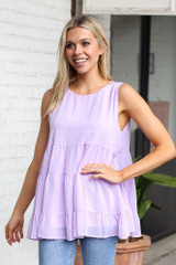 Lavender - Tiered Swiss Dot Tank Top from Dress Up