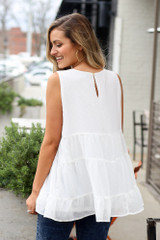 Model wearing the Tiered Swiss Dot Tank Top in White Back view