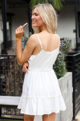 Model in Crochet Trim Belted Babydoll Dress from Dress Up with trendy sunglasses