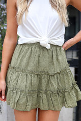 Olive - Eyelet Tiered Skirt from online dress boutique
