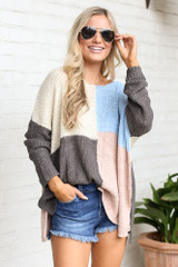 Color Block Lightweight Knit Top from online dress boutique