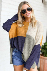 Navy - Color Block Lightweight Knit Top