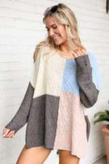 Blush - Color Block Lightweight Knit Top