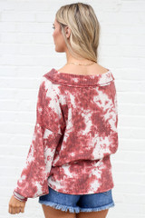 Model wearing the Tie-Dye V-Neck Waffle Knit Top from Dress Up with high rise mom short Back View
