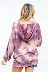 Model wearing the Tie-Dye Oversized Pullover Hoodie Back View