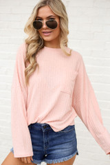 Peach - Lightweight Ribbed Knit Oversized Top