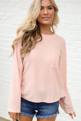 Peach - Lightweight Ribbed Knit Oversized Top from Dress Up