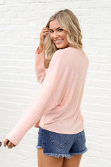 Lightweight Ribbed Knit Oversized Top in Peach Back View
