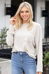 Dress Up model wearing the Lightweight Ribbed Knit Oversized Top in Taupe with jeans
