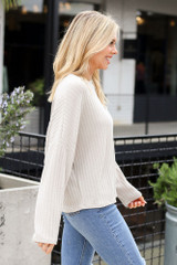 Lightweight Ribbed Knit Oversized Top in Taupe Side View