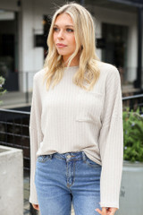 Lightweight Ribbed Knit Oversized Top in Taupe Front View