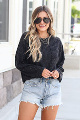 Lightweight Ribbed Knit Oversized Top in Black Front View