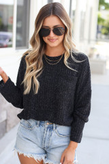 Black - Dress Up model wearing the Lightweight Ribbed Knit Oversized Top