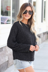 Lightweight Ribbed Knit Oversized Top in Black Side View