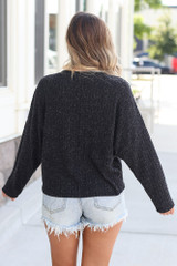 Lightweight Ribbed Knit Oversized Top in Black Back View