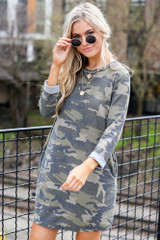 Beth French Terry Camo Dress