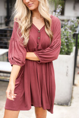 Marsala - Button Front Babydoll Dress from Cute Dresses only at Dress Up Boutique