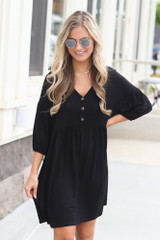 Black - Button Front Babydoll Dress from online dress boutique