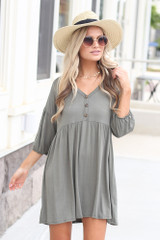 Olive - Button Front Babydoll Dress