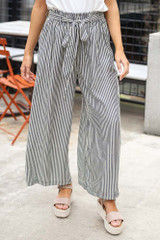 Charcoal - Tie Front Wide Leg Pants from Dress Up